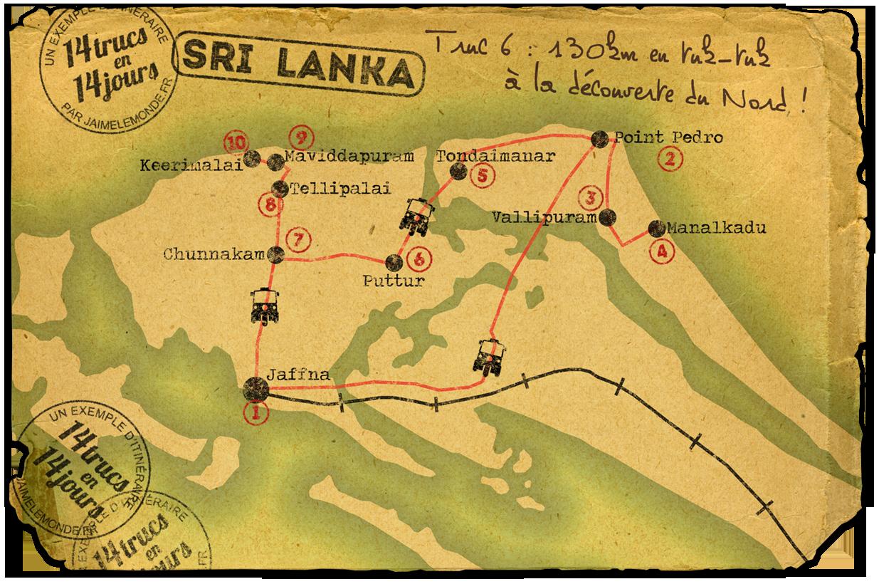 14 jours au sri lanka - carte nord