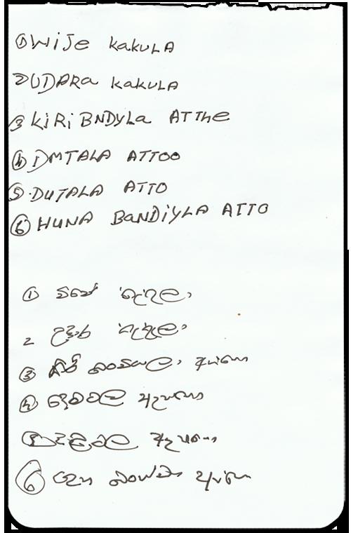 Prénoms des Veddas au Sri Lanka
