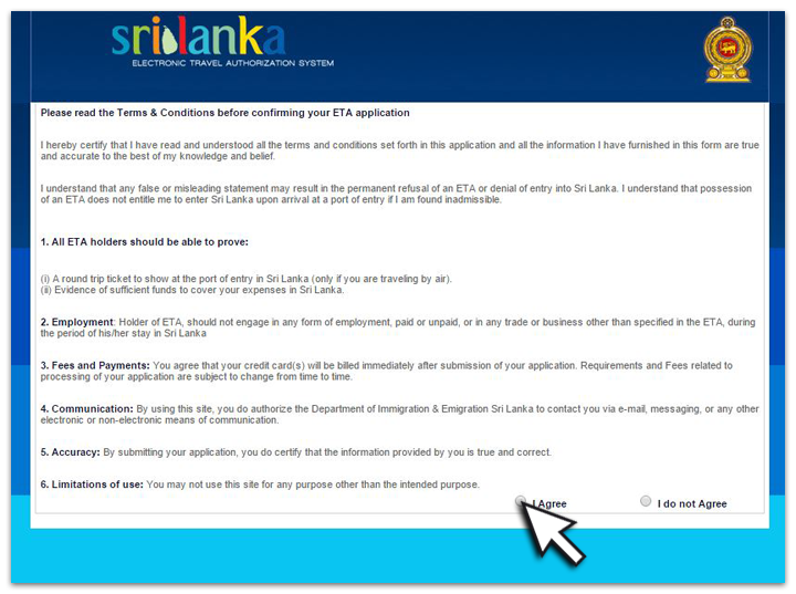 Visa voyage Sri Lanka - écran 2
