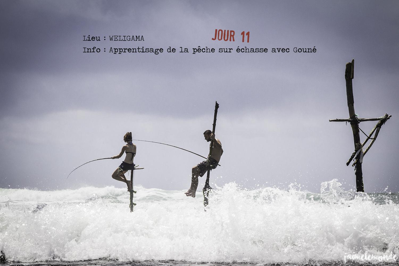 Voyage Sri Lanka - Itinéraire Jour 11 - 4 Weligama - Apprentissage de la pêche sur échasse - ©jaimelemonde