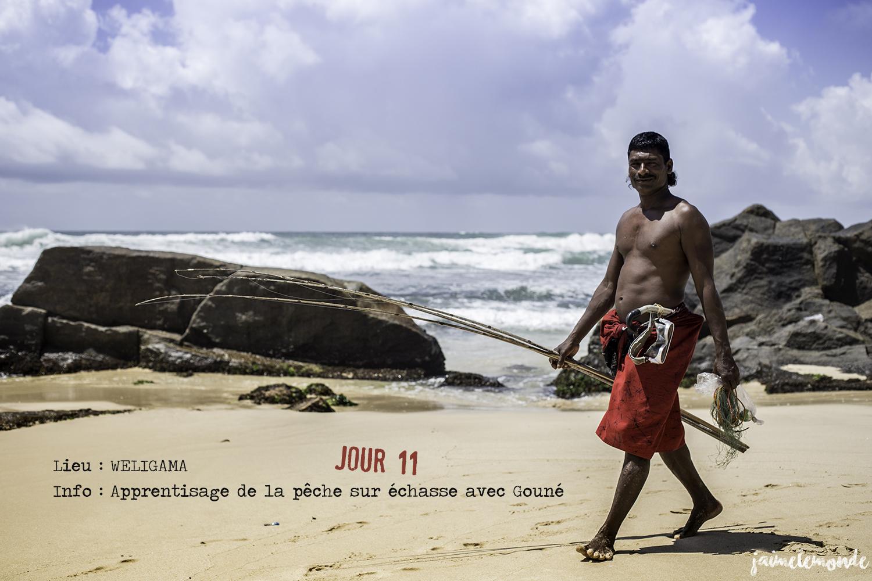 Voyage Sri Lanka - Itinéraire Jour 11 - 2 Weligama - Apprentissage de la pêche sur échasse - ©jaimelemonde