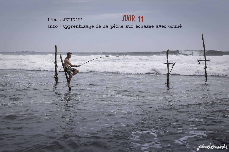 Voyage Sri Lanka - Itinéraire Jour 11 - 3 Weligama - Apprentissage de la pêche sur échasse - ©jaimelemonde